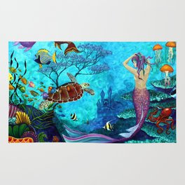 A Fish of a Different Color - Mermaid and seaturtle Rug