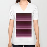 burgundy V-neck T-shirts featuring burgundy stripes by Simply Chic