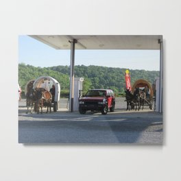Horse & Buggies need fuel to Metal Print