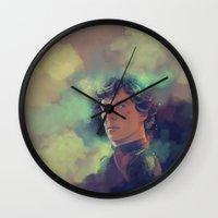 sherlock holmes Wall Clocks featuring Sherlock Holmes by KanaHyde