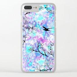 Vintage black bird flowers pink teal watercolor pattern Clear iPhone Case
