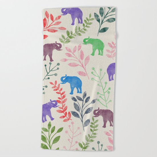 Watercolor Flowers & Elephants Beach Towel