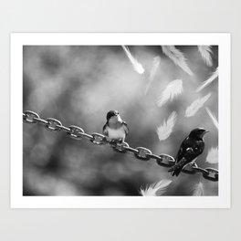 Swallow brids on a chain Art Print