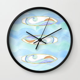 Surfboard retro watercolor Wall Clock