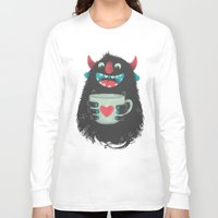 cup Long Sleeve T-shirts featuring Demon with a cup of coffee by Lime
