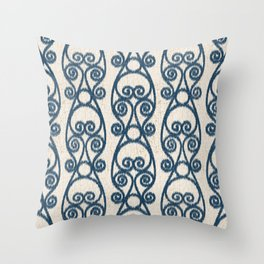 Crackled Scrolled Ikat Pattern - Cream Navy Throw Pillow