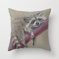 racoon Throw Pillows featuring Racoon sleeping by Pendientera
