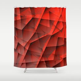 Abstract strict pattern of red and overlapping fragments and irregularly shaped glass lines. Shower Curtain