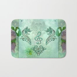 Music, decorative clef with floral elements Bath Mat
