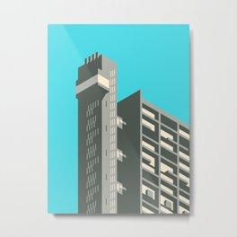 Trellick Tower London Brutalist Architecture - Cyan Metal Print