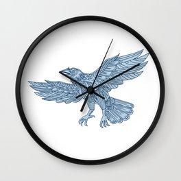 Crow Flying Mandala Wall Clock