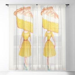 Cake Head Pin-Up - Lemon Sheer Curtain