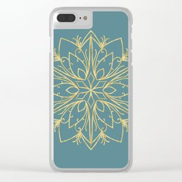 Golden Snowflake Teal Clear iPhone Case