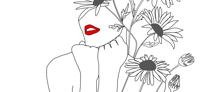 Minimal Line Art Girl with Sunflowers Coffee Mug