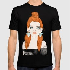 Red-haired girl MEDIUM Black Mens Fitted Tee