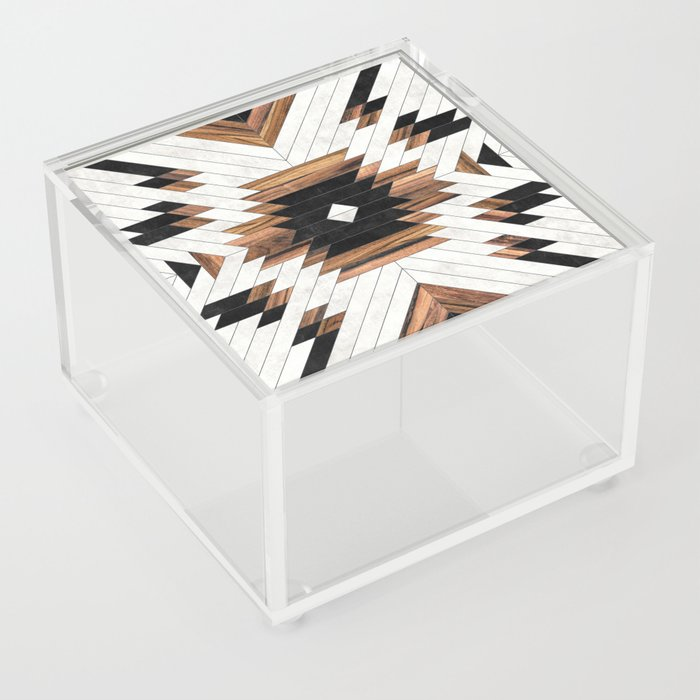 Urban Tribal Pattern No.5 - Aztec - Concrete and Wood Acrylic Box