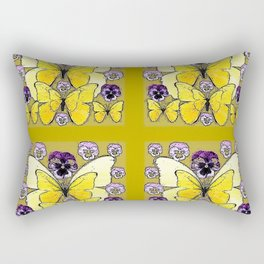INK DRAWING PURPLE PANSY FLOWERS & YELLOW BUTTERFLIES Rectangular Pillow