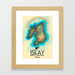Islay Scotland map travel poster. Framed Art Print