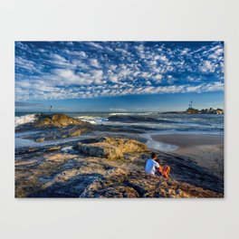 Lovers on the beach Canvas Print