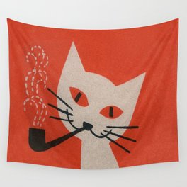 Retro White Cat Smoking a Pipe Wall Tapestry