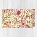 Yellow square, pink floral doodle, zentangle inspired art pattern by camcreative