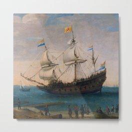 """Hendrick Cornelis Vroom """"Het uitzeilen van een aantal Oost-Indiëvaarders"""" Metal Print"""