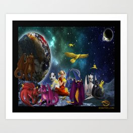 Dragonlings Space Party Art Print