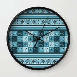 Bohemian Blue Tiles Pachwork Wall Clock