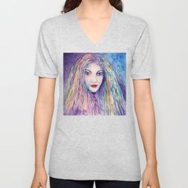 Watercolor Abstract Girl Portrait Blue Unisex V-Neck
