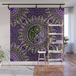 Yin yang symbol in purple and lime foil ornament Wall Mural