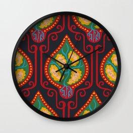 Red Klimt Pattern Wall Clock