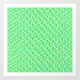 Turquoise Propeller Mint Green and Blue Petals on Butter Cream Yellow Springtime Country Kitchen Des Art Print