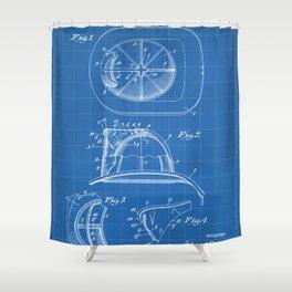 Firemans Helmet Patent - Fire Fighter Art - Blueprint Shower Curtain
