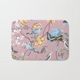 BIRDS, BLOSSOMS & BUTTERFLIES BLUSH Bath Mat