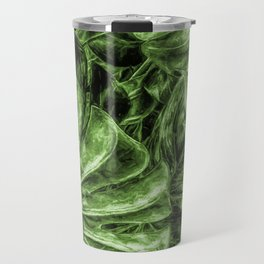 Painted Green Monstera palm leaves by Brian Vegas Travel Mug