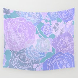 Preppy Purple and Seafoam Green Abstract Contemporary Romantic Roses Wall Tapestry