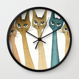 Roanoke Whimsical Cats Wall Clock