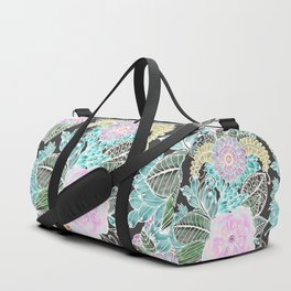 Hand painted black pink teal white green watercolor floral Duffle Bag