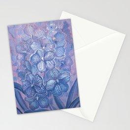 Blue Orchid, Checkered Vanda, Garden Flowers, Botanical Floral Art Stationery Cards