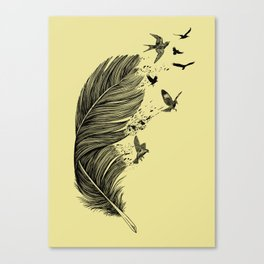 Feather Birds BW Canvas Print
