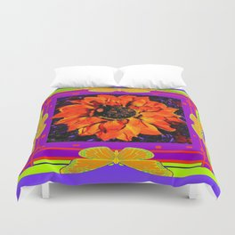 Orangey-Red Dahlia Butterly Lilac Pattern Duvet Cover