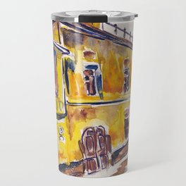 Lonely yellow house. Urban landscape watercolor drawing Travel Mug