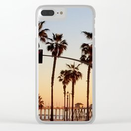 Huntington Beach Summer Sunset at the pier Clear iPhone Case