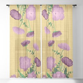 Violet Blooms on Textured Mustard Yellow Sheer Curtain