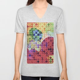 geometric circle pattern abstract background in red pink yellow orange green Unisex V-Neck