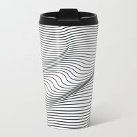 3d Travel Mugs featuring Minimal Curves by Leandro Pita
