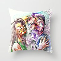 pugs Throw Pillows featuring Dramatic pugs by Stin