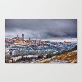 Segovia in Spain snowed in winter. Canvas Print