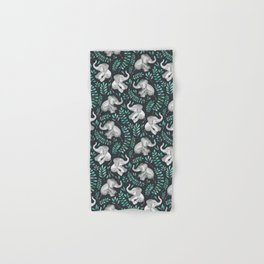 Laughing Baby Elephants – emerald and turquoise Hand & Bath Towel