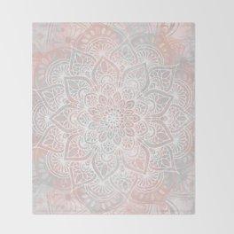 Mandala, Yoga, Love, Coral and Gray, Wall Art Boho Throw Blanket
